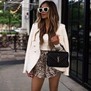 Zara White Tweed Blazer with Gold Buttons